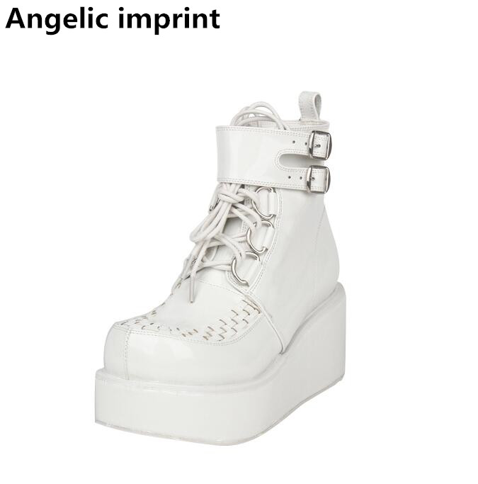 Angelic imprint mori girl Women motorcycle punk shoes lady high heels lolita ankle boots woman princess