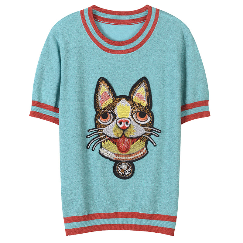 2018 Runway Designer Luxury T shirts for Women Bright Silk Stripe Knitted Beading Embroidery Dog Harajuku Summer Top Tee Female