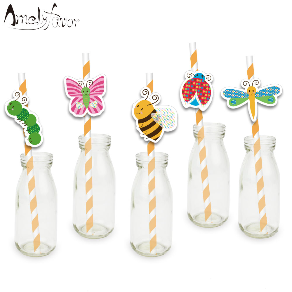 Insects Theme <font><b>Party</b></font> Paper Straws <font><b>Bee</b></font> Butterfly Beetle Dragonfly Drinking Straws Grand Event Birthday <font><b>Party</b></font> Decorations <font><b>Supplies</b></font> image