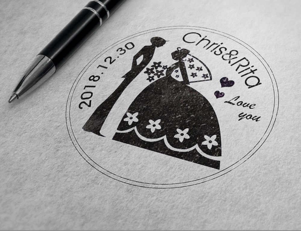 40mm ส่วนบุคคลที่กำหนดเอง Self Inking งานแต่งงานแสตมป์ธุรกิจครอบครัวสุทธิที่อยู่รอบแสตมป์ nitials ชื่อวันที่