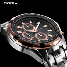 Sinobi Original Brand Men's Business Chronograph Watches Rolexable Quartz Wrist Watch Band Clock Sports Watch Relogio Masculino black wolf set funny sex dice 6 12 positions sexy romantic love gambling adult games erotic craps tube sex toys for couples