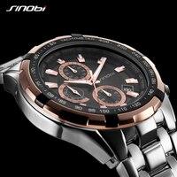 Sinobi marca original masculino relógios de negócios cronógrafo rolexable quartzo relógio de pulso banda relógio esportivo relogio masculino|masculino|masculinos relogios|masculino watch -