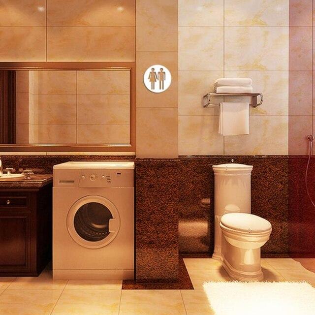 € 1.33 17% de réduction|D10 3D haute qualité toilette moderne acrylique  grand décor à la maison miroir Stickers muraux verre salle de bains  bricolage ...