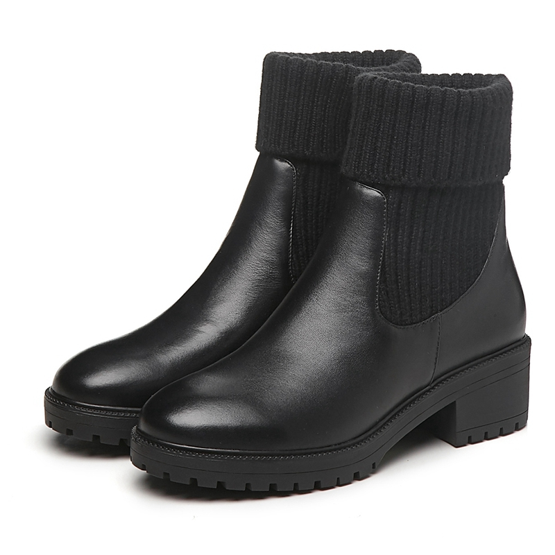 Femmes Taille De Rond Pour Anmairon Bottines Base sur Chaussures Ly258 39 Tendance Bout Black Slip 2018 Bottes 34 xAnn4gwq