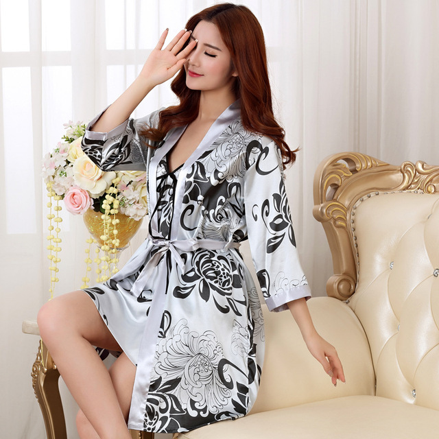 Sexy printed Satin Robe Set