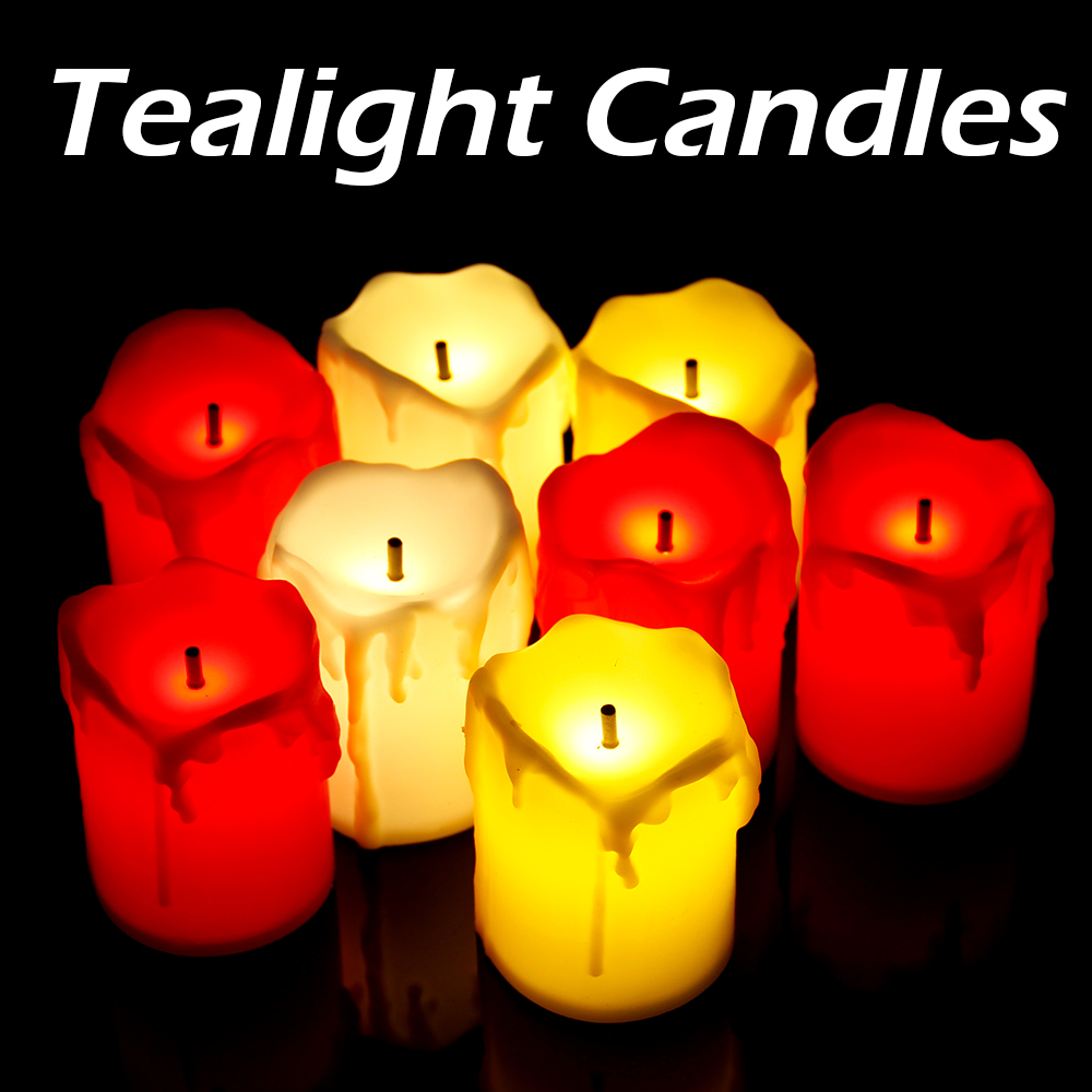 12 pcs/pack Flickering Flameless LED Tea light Flicker Tea Candle Light Party Wedding Candels Safety Home Decoration 1