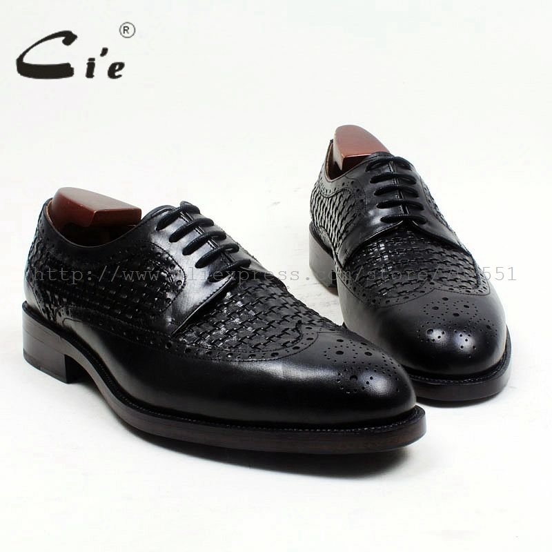 cie Free Shipping Bespoke Handmade Round Toe W-tips Lace-up Office Derby Black Calf Leather Men Shoe Leather Bottom Outsole D166 cie free shipping mackay craft bespoke handmade pure genuine calf leather outsole men s dress classic derby dark gray shoe d47