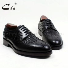 cie Free Shipping Bespoke Handmade Round Toe W tips Lace up Office Derby Black Calf Leather