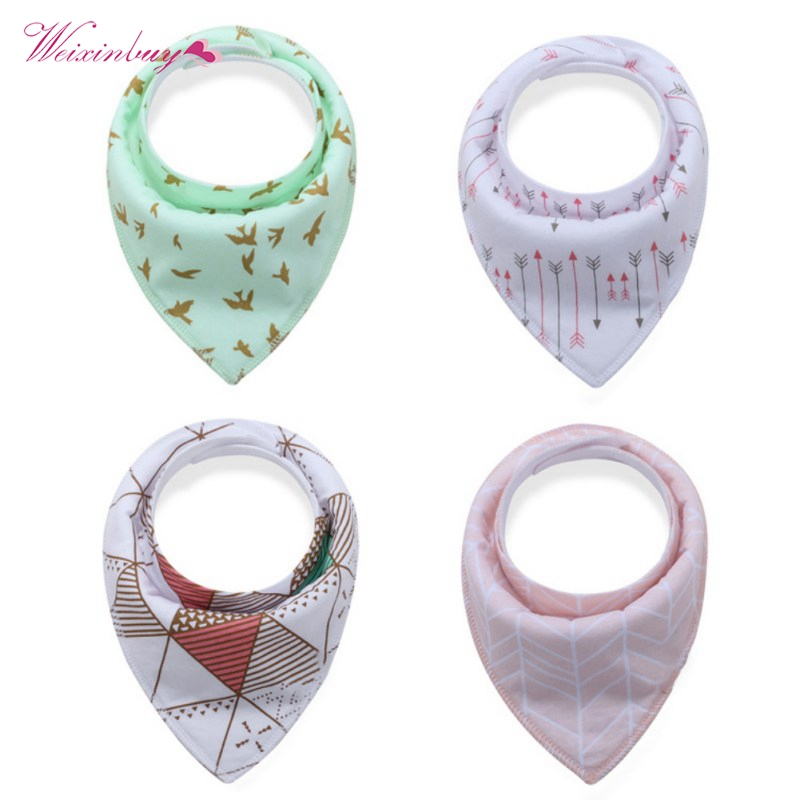 4pcs/lot Baby Bibs ins burp saliva towel cartoon Children cloths triangle cotton Boy and Girl bib baby accessories