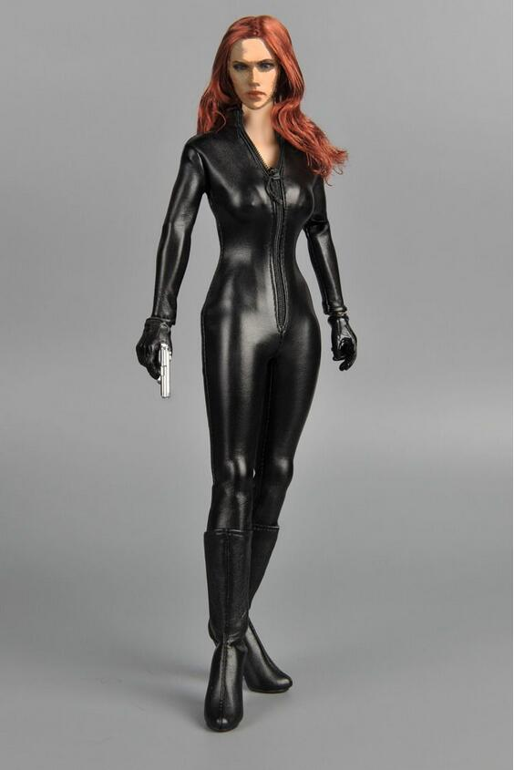 """ZYTOYS 1//6 Female Black Conjoined Leather Clothes Slim Coat for 12/"""" Figure Body"""