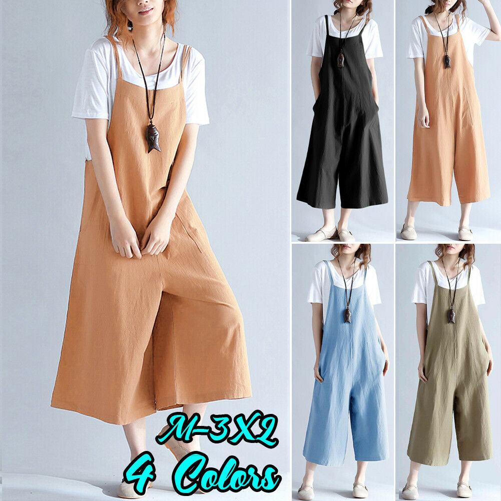 2020 Women Cotton Linen Rompers Summer Casual Loose Jumpsuits Pocket Design Suspender Strap Wide Leg Trousers Overalls M-3XL