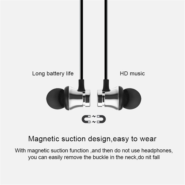 Sports Bluetooth Headphones Stereo Music MP3 Earphones Magnetic Earpiece Wireless Headset for Xiaomi Samsung iPhone Mobile Phone