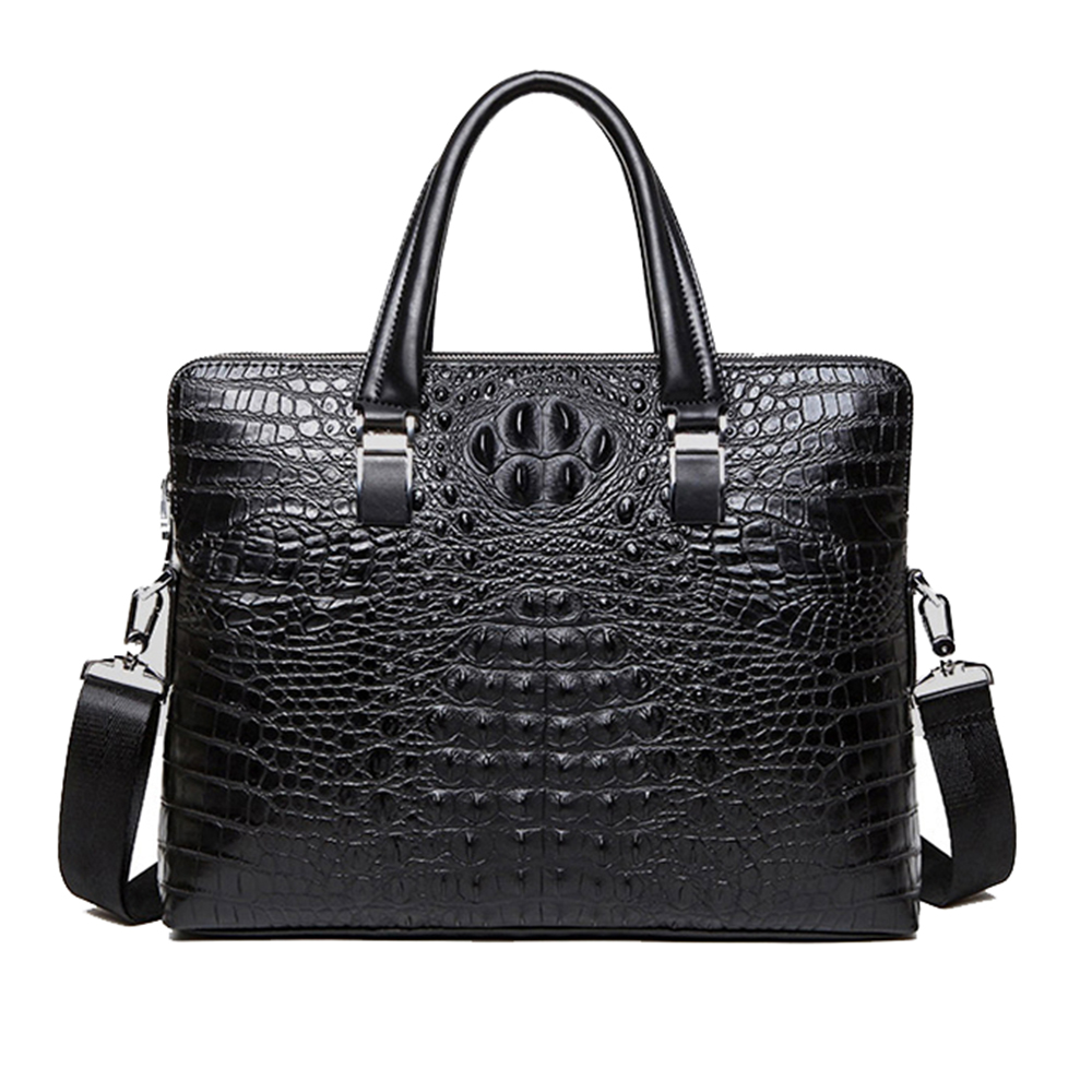 Image 5 - Crocodile pattern cowhide Leather Briefcase Mens Bags Men leather handbag Shoulder Bags male Laptop A4 paper tote bag Handbagbags handbagsmen business bags menlaptop tote -