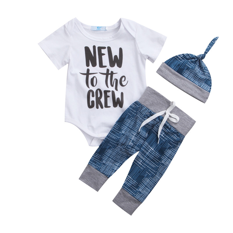 Canis Newborn Baby Boy Girl Clothes Jumpsuit Longsleeve Autumn Bodysuit +Long Pants +Hat Outfit 3Pcs Set 0-18M