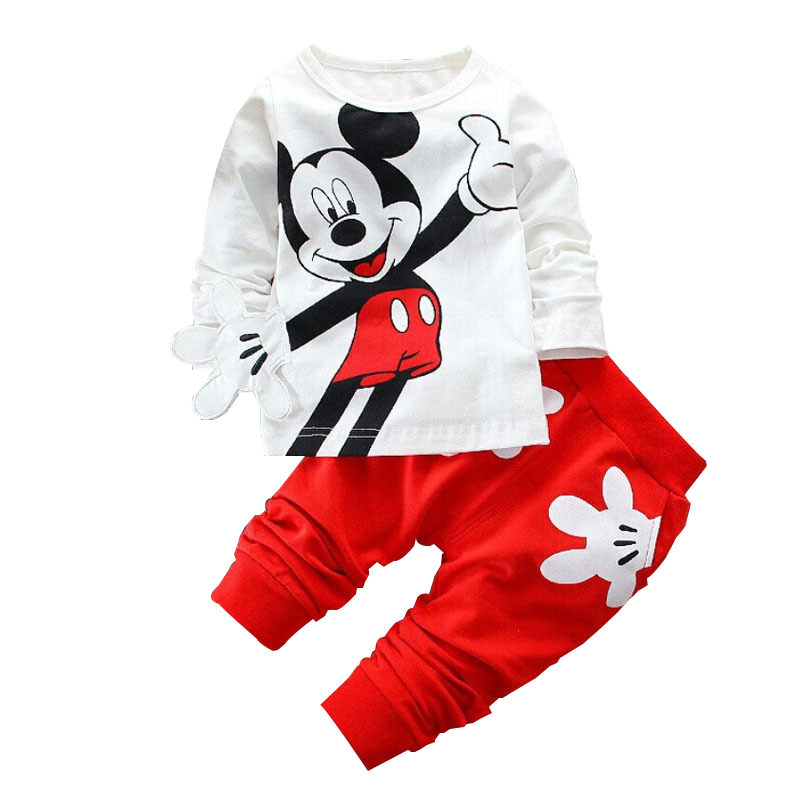 2019 Spring Children Clothing Set Mickey Cartoon Boys Girls Long Sleeve Coat Tops + Pants Suit Baby Kids Clothes Sets Tracksuit