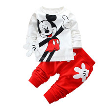 2019 Spring Children Clothing Set Mickey Cartoon Boys Girls Long Sleeve Coat Tops + Pants Suit Baby Kids Clothes Sets Tracksuit(China)