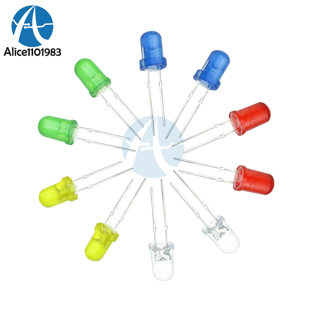 100 Pcs 5mm LED Diode Red Blue Green White Yellow Emitting Diodes Kit Bulb Light