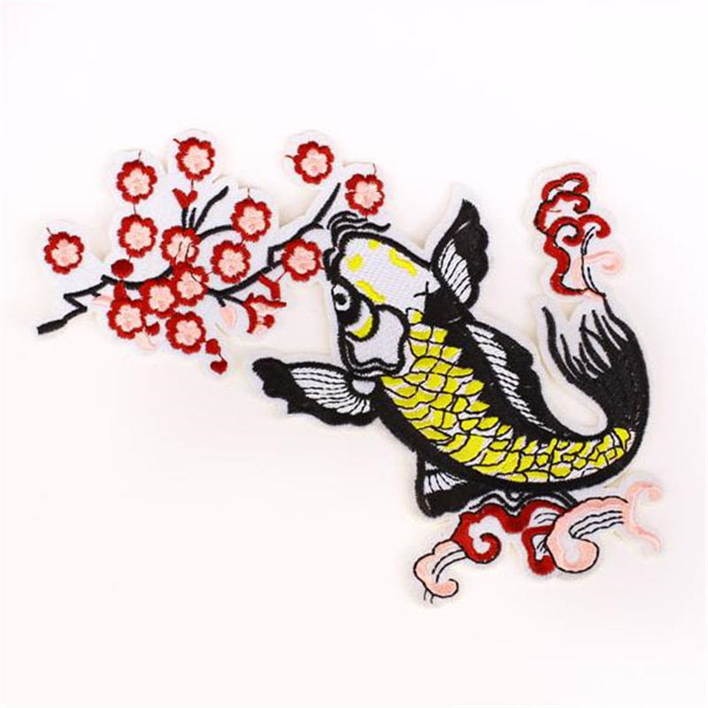 Street Fashion Icon 22cm carp flower patches for clothing diy embroidery biker patch for clothes t shirt girls animal stickers