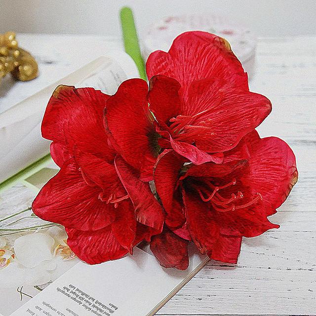 4 sztuk/partia sztuczne amarylis kwiat fleurs artificielles dla domu tabeli dekoracje ślubne jedwabne kwiaty Hippeastrum flores
