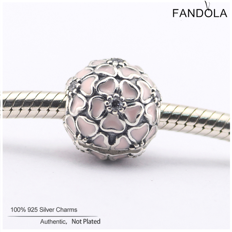 Berloque Pink Enamel Stopper Beads 925 Sterling Silver Cherry Blossom Clip Charms Jewelry Making Fits Pandora Charms Bracelet