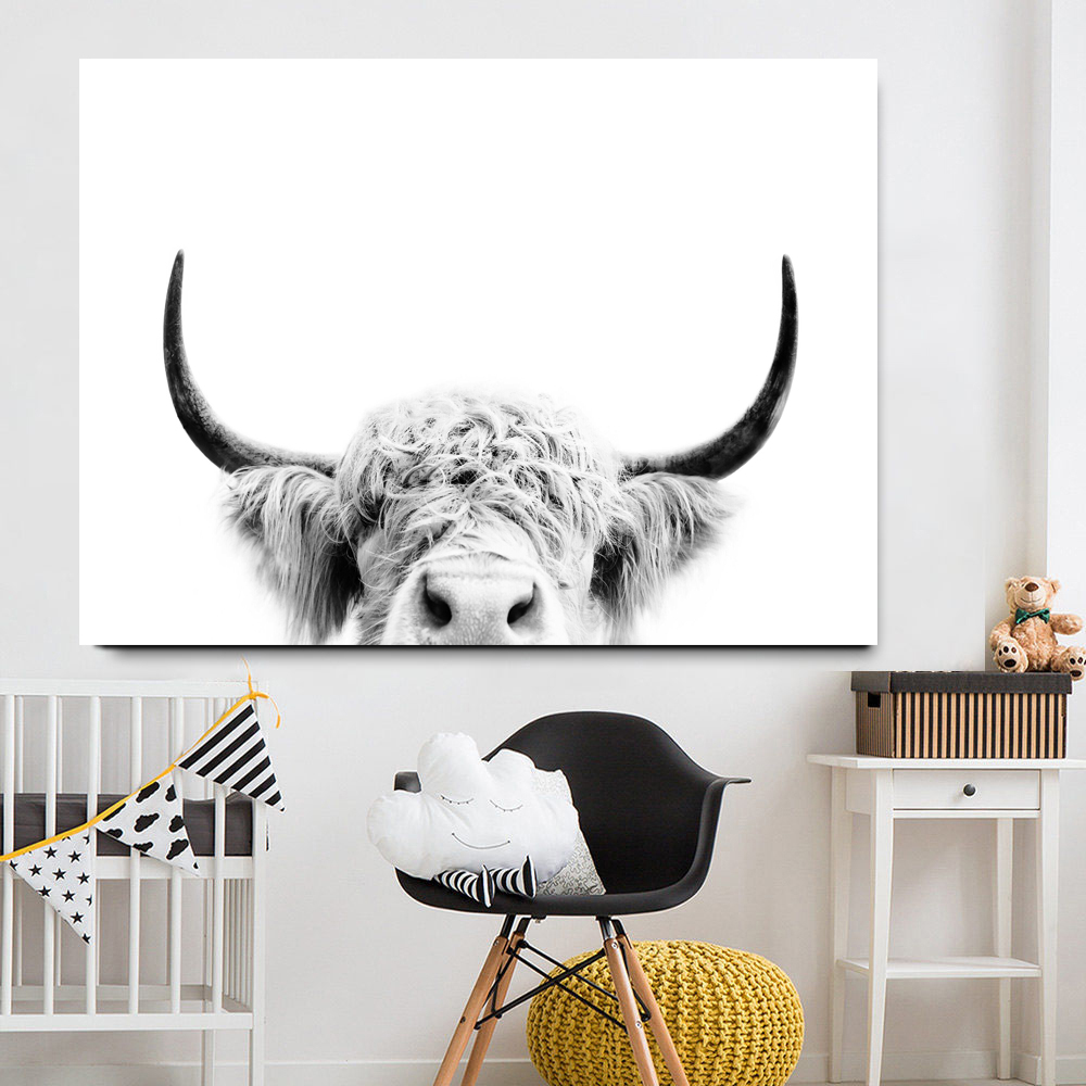 HTB11UNRJFYqK1RjSZLeq6zXppXaO Black and White Highland Cow Cattle Wall Canvas Art Nordic Painting Poster and Print Scandinavian Wall Picture for Living Room