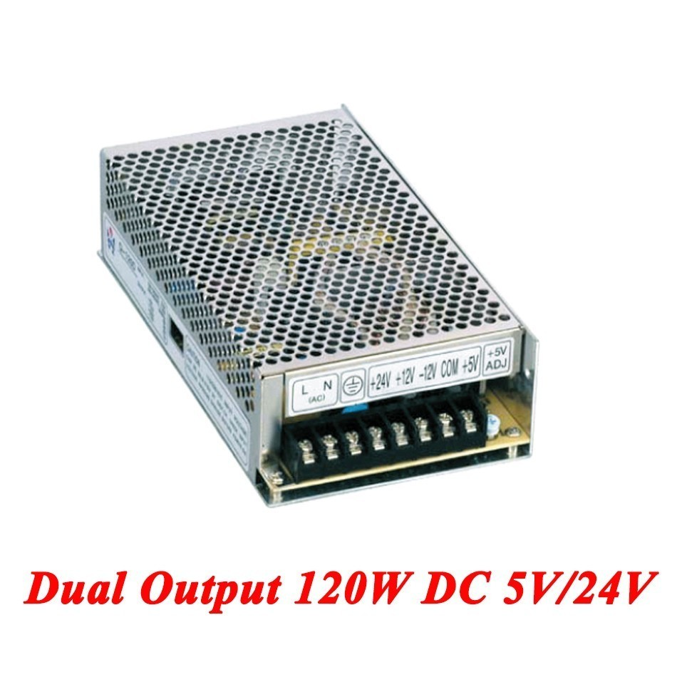 D-120B Switching Power Supply 120W 5V/24V,Dual Output Ac-dc Power Supply For Led Strip,voltage Converter 110v/220v To 5V/24V