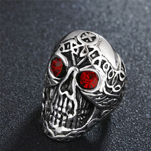 316L Stainless steel Colorful geen eyes Gothic Carving kapala Skull Ring Biker Hiphop rock Jewelry For man