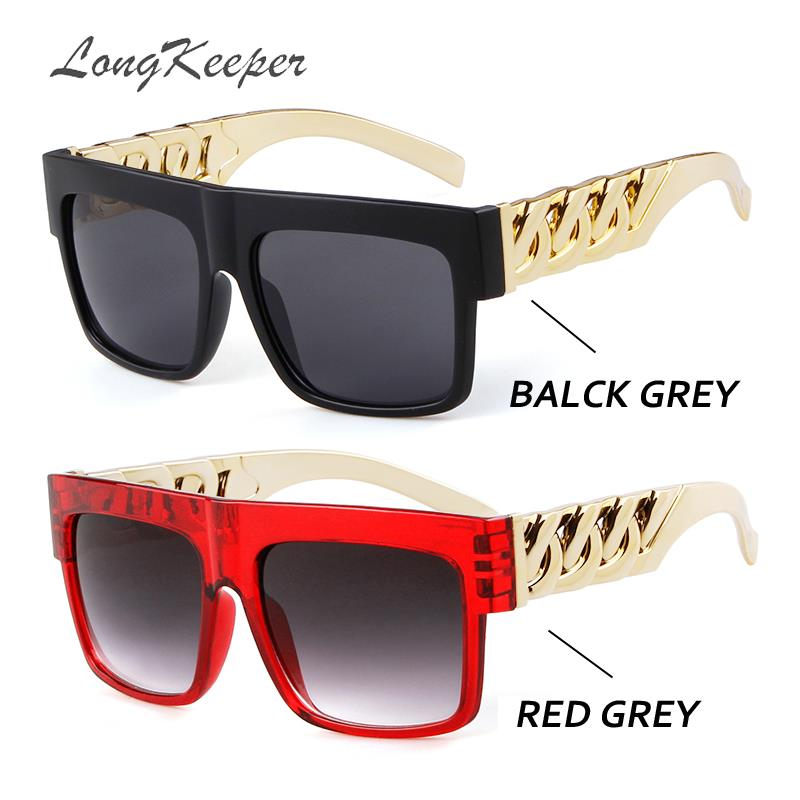 LongKeeper Oversized Gold Chain Kim Kardashian Beyonce Sunglasses Men Women Steampunk Hip Hop Sun Glasses Gafas De Sol UV400