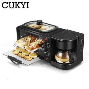 Cukyi 3 em 1 máquina de café da manhã elétrica multifuncional cafeteira frigideira mini forno casa pão pizza forno frigideira