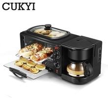CUKYI, máquina de desayuno eléctrica 3 en 1, cafetera multifunción, sartén, mini horno doméstico, pan, pizza, horno, sartén