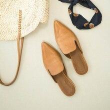 Новые летние тапочки; Модные дышащие однотонные туфли с острым носком; женские тапочки из искусственной кожи на низком каблуке; Лидер продаж