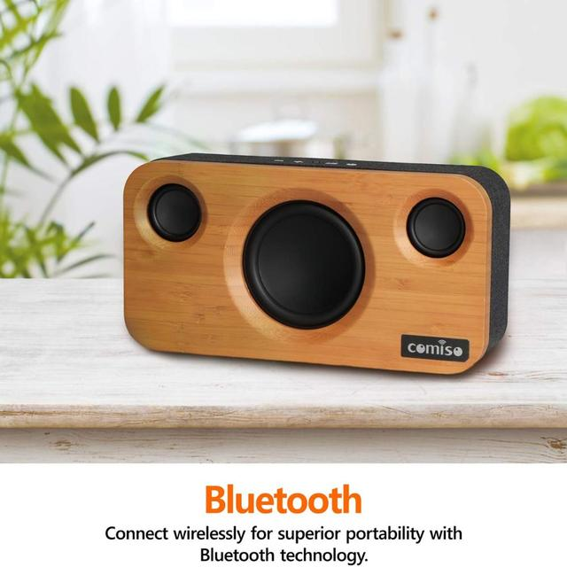 Dual-Driver Wireless Bluetooth Bamboo Wood Stereo Speaker