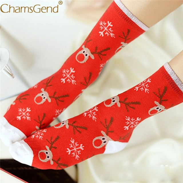 Chamsgend meia Hot Winter Warm Christmas Cartoon Print Long Socks Women Girls Gift Meias 71026 Drop Shipping