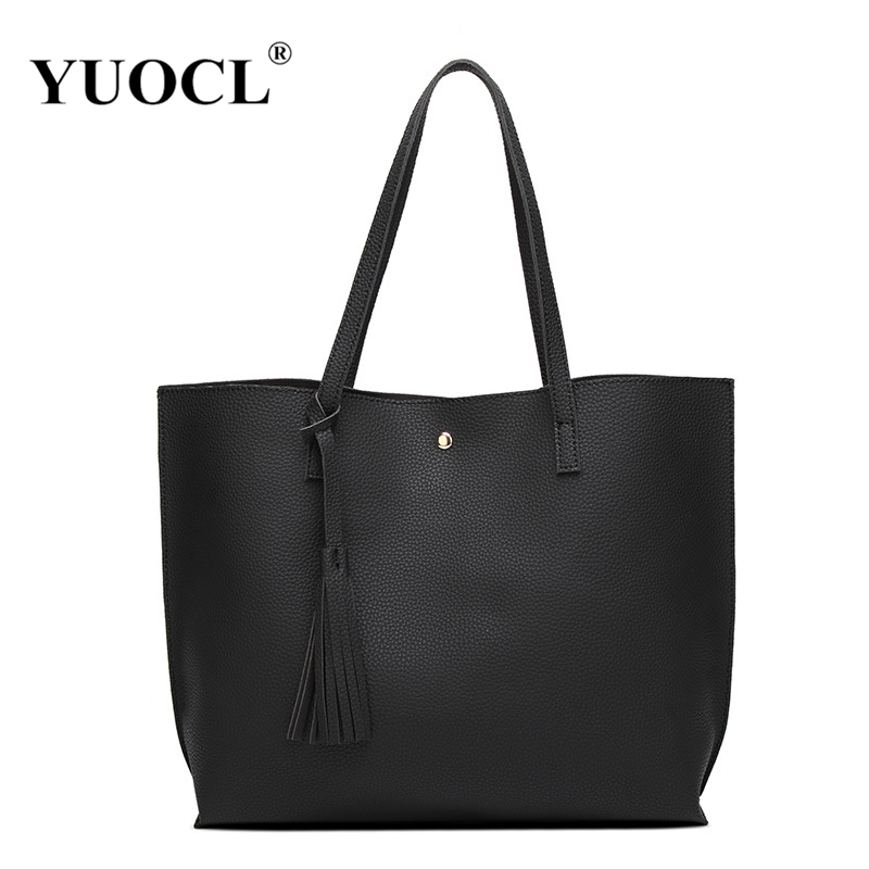 YUOCL Luxury Brand Women Shoulder Bag Soft Leather TopHandle Bags Ladies Tassel Tote Handbag High Quality