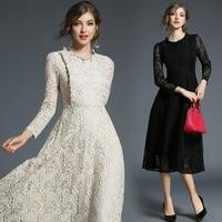 Women Clothing 2018 New Spring Autumn Fashion Europe Style Ruffles Lace Dress Vintage Patchwork O Neck