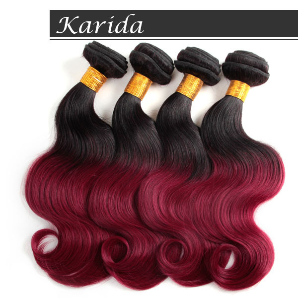 4bundles Full And Thick Dark Red Ombre Brazilian Hair Weave Body