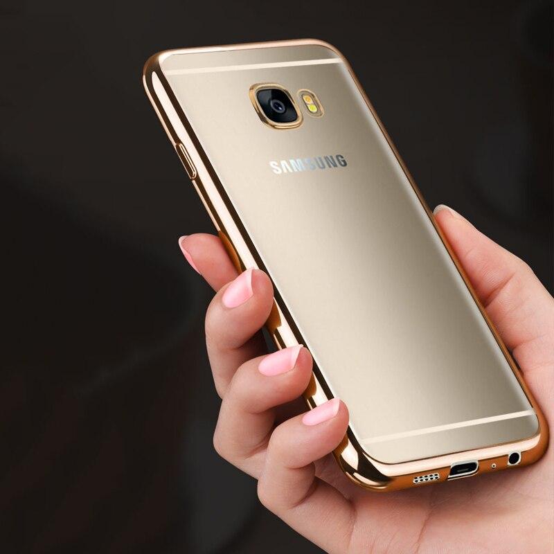 Pour Coque Samsung GALAXY A5 2017 Cas Silicone Or Placage TPU Effacer Couverture Souple Galaxy A520 A520F 52 Dans Coques De