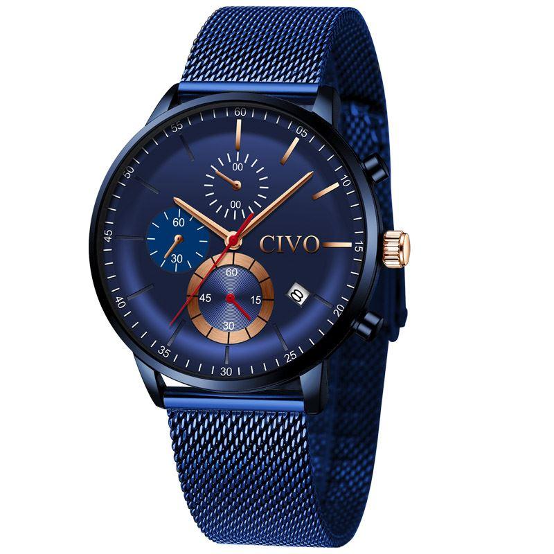 CIVO Sport Mens Watch Waterproof Blue Luxury Quartz Watches