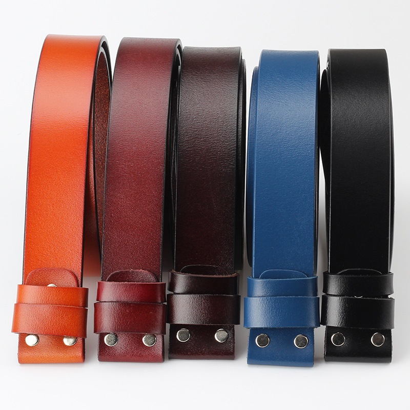 Vintage No Buckle   Belt   Suit Smooth Buckle Black Coffee   Belts   Men Luxury Cowskin Soild Genuine Only Leather Without Buckle