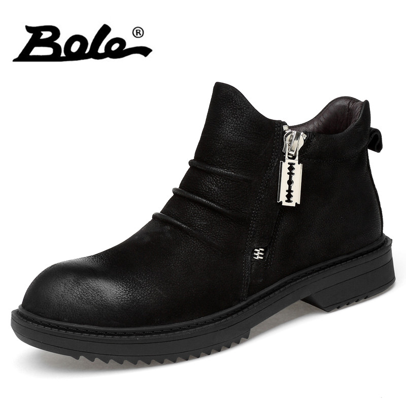 BOLE Large Size 36-47 Men Autumn Winter Boots New Fashion Men Height Increasing Leather Boots Plush Warm Snow Sneakers for Men mulinsen new 2017 autumn winter men
