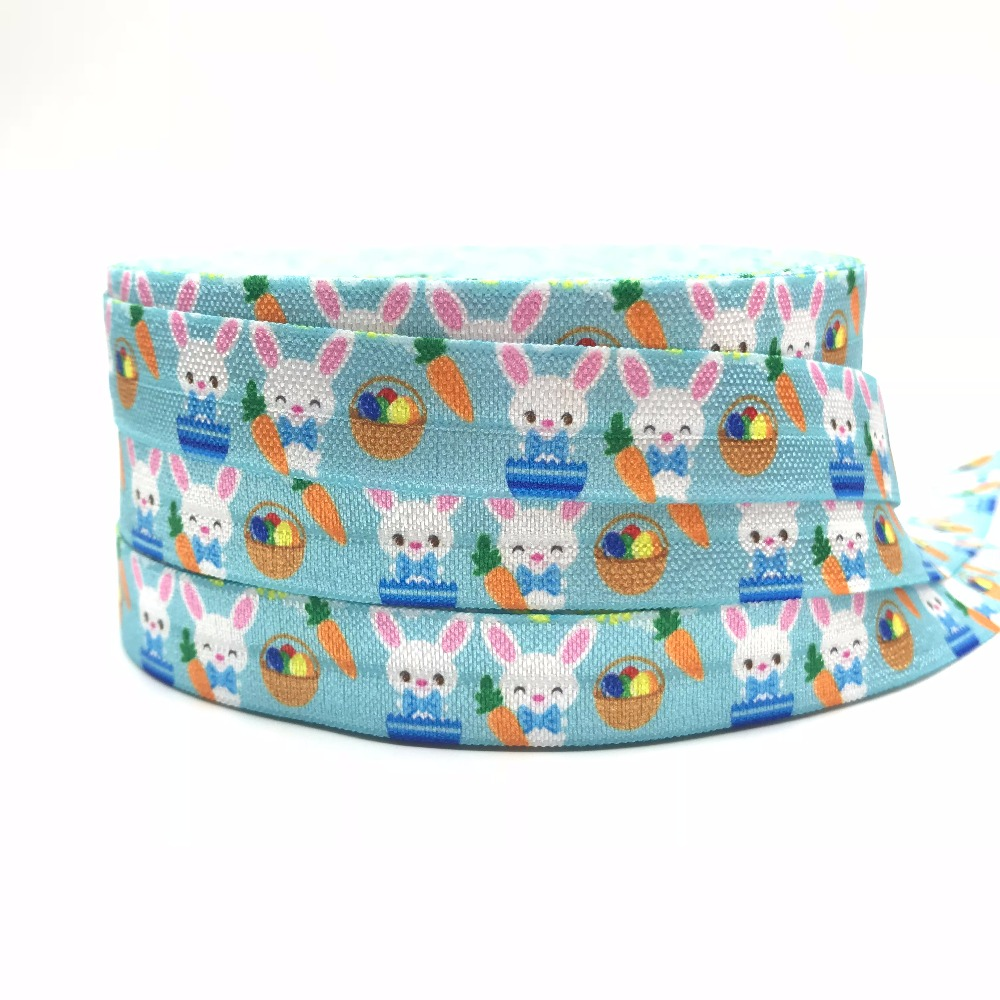 10 yards 5/8 Easter Eggs Printed Fold Over Elastic Rabbit FOE Ribbon DIY Gift Webbing for Bracelet DIY Head wear Hair Accessory