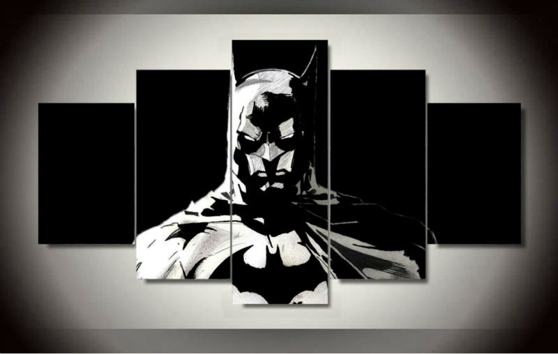 2017 Hot Sale Paintings 5 Pcs/set Batman Painting On Canvas Room Decoration Print Picture Wall Art For Living Decor (unframed)