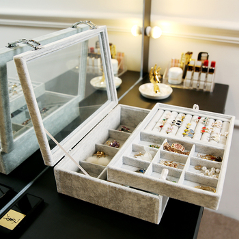 ANFEI Jewelry Display Velvet Gray Carrying Case with Glass Cover Jewelry Ring Display Box 1