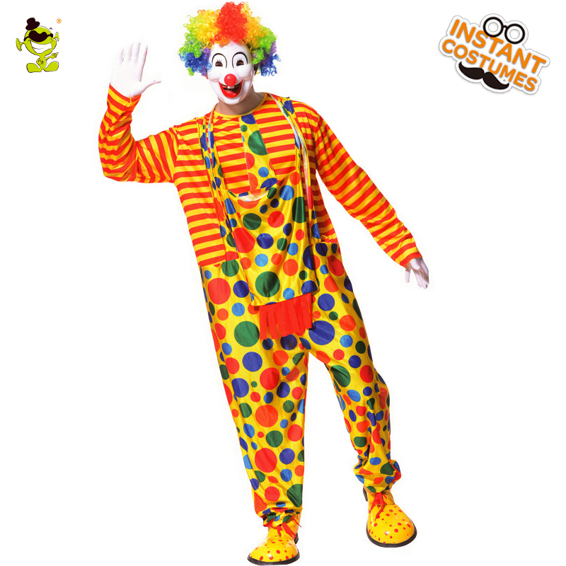 Mens Colorful Dot Clown Costumes Funny Clown Clothes With Jumpsuit For Adult Man Party Buffon Disguise Joker Clown Cosplay sets