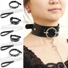 Punk Gothic Sexy metal Rivet Alternative slave PU Leather Collar Traction Rope,BDSM Bondage Necklace Neckband,Sex Toys цена 2017