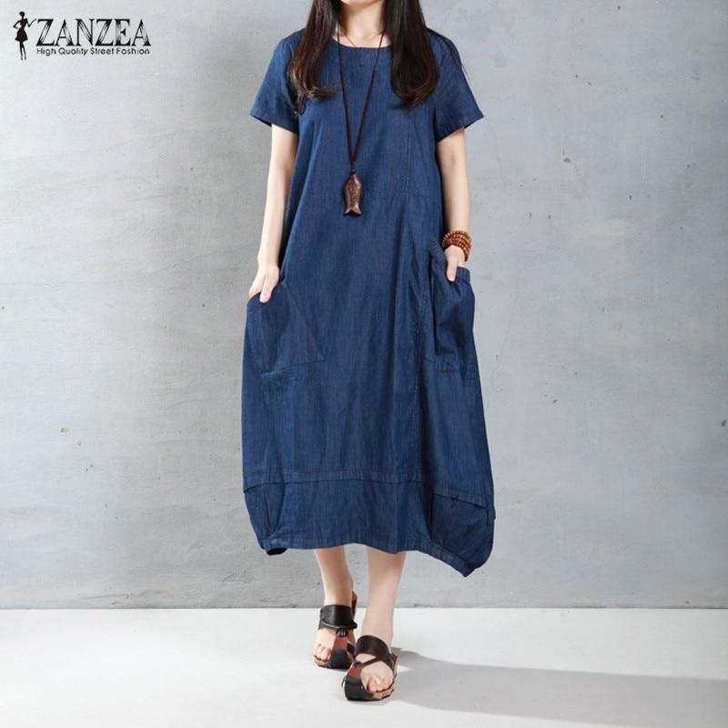 ZANZEA Women Dress 2016 Summer Casual Loose Long Dresses Fashion Solid Short Sleeve O Neck Plus Size Vestidos Hot Sale