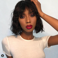 BEAUDIVA Short Bob Human Hair Wigs With Bang 130% Remy Hair Bang No Lace Front Wigs Human Hair Bob Wig Natural Wavy Short Wigs