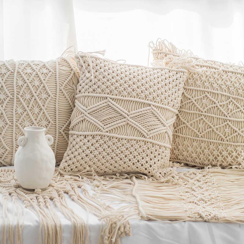 macrame pillow cover boho decor hand