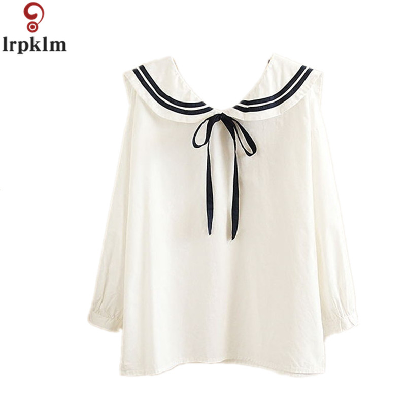 2017 Loose Cotton Women Blouses Spring Sailor Collar Shirt Female Long-sleeve Women Tops White Cute Student Girls Clothing YY452