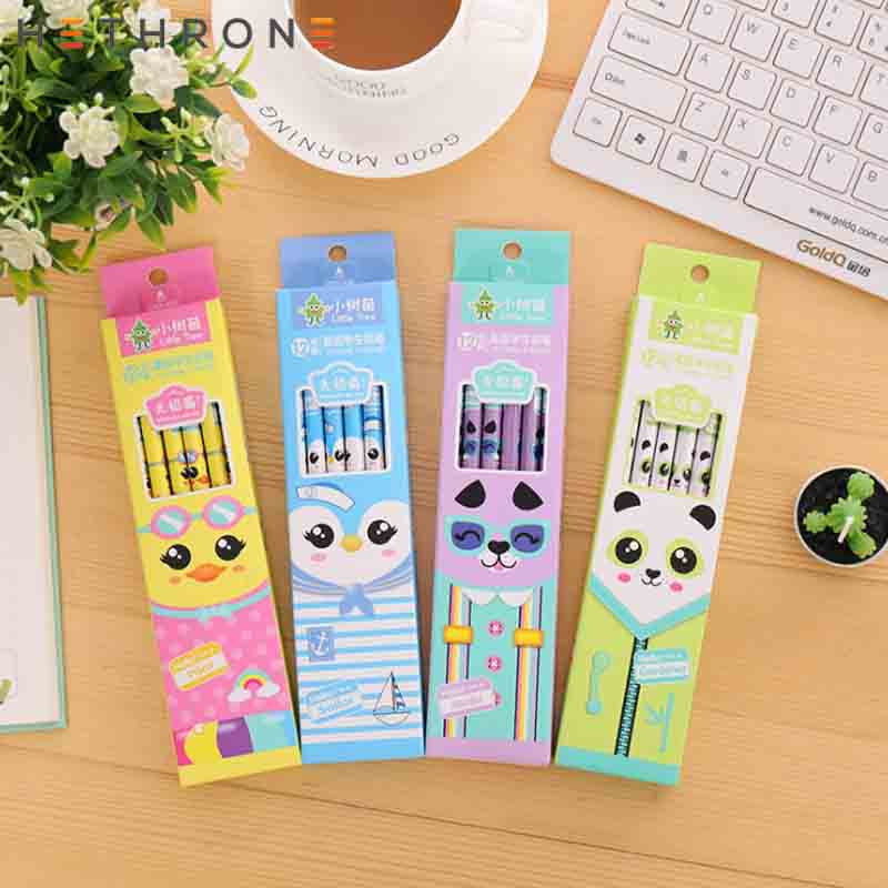 Image 2 - Hethrone 12pcs Animal wooden pencils for school Student writing drawing pencil set crayons sketch graphite lapices school items-in Standard Pencils from Office & School Supplies